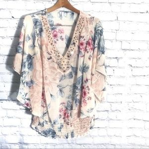 Maurices Floral Pink Women's Blouse Flowy Jeweled